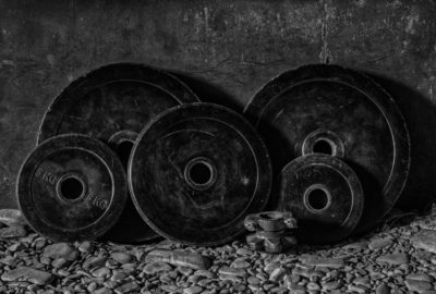 black and white bumper plates